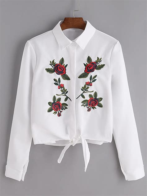 White Flower Embroidered Blouse 18951 white flower embroidered tie front shirtfor romwe