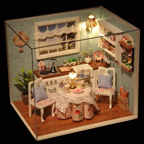 doll house com diy wooden doll house toys dollhouse miniature box kit with cover and led furnitures