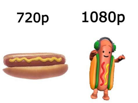 Hot Dog Memes - 720 p vs 1080 p dancing hot dog snapchat filter know your meme