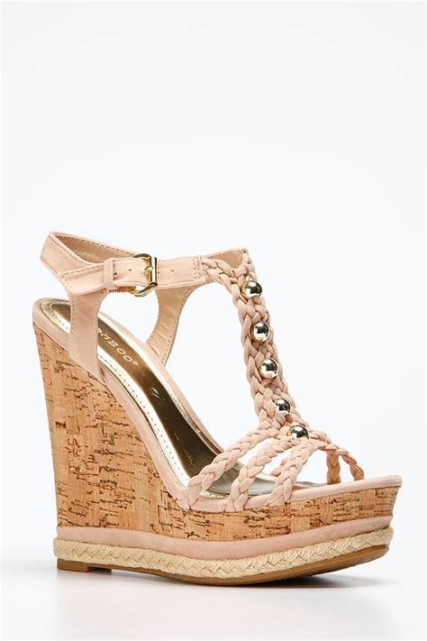 bamboo gold accent braided cork wedges cicihot wedges