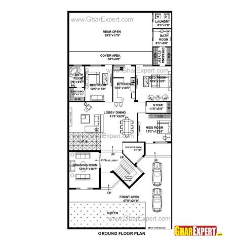 48 square feet house plan for 48 feet by 100 feet plot plot size 533