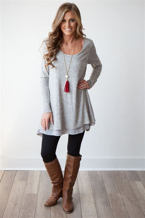 Flowy Tunik womens grey tunic sweater baggage clothing