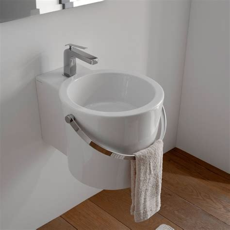 stylish contemporary ceramic wall mounted or vessel sink contemporary bathroom