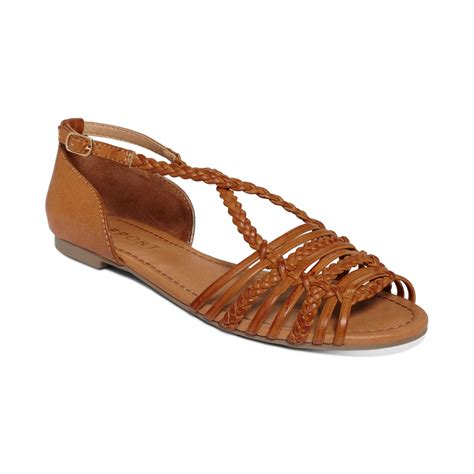 brown sandals lyst report cristina flat sandals in brown
