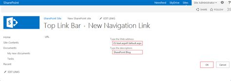 How To Add A Link To The Top Link Bar In Sharepoint 2013