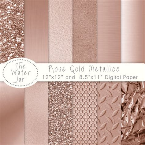 Peach Pantone by Rose Gold Digital Paper Pack With Rose Gold Metallic Glitter