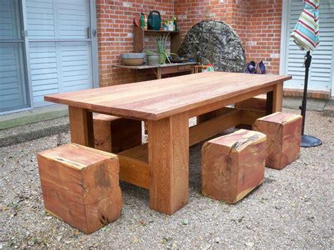 picnic table  cedar log stools contemporary patio