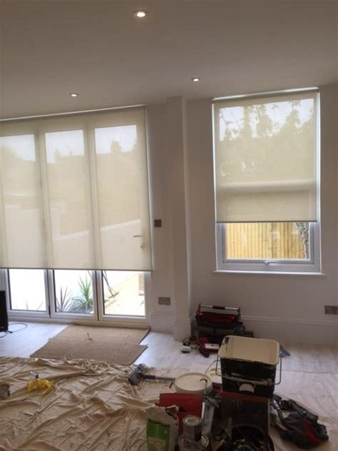Living Room Roller Blinds Sunscreen Roller Blinds Fitted To An Open Plan Kitchen