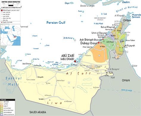 arab emirates map political map of united arab emirates ezilon maps
