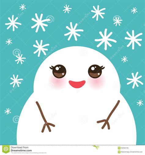 cute cartoon white kawaii snowmen  snowflakes stock vector image