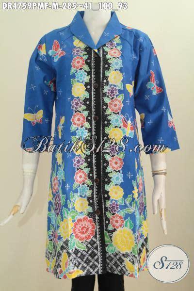 Cantik Brisk Dr Blouse Wanita Spandek Biru Dan Pink Bagussss pakaian dress batik motif bunga dasr biru desain mewah proses kombinasi tulis baju batik