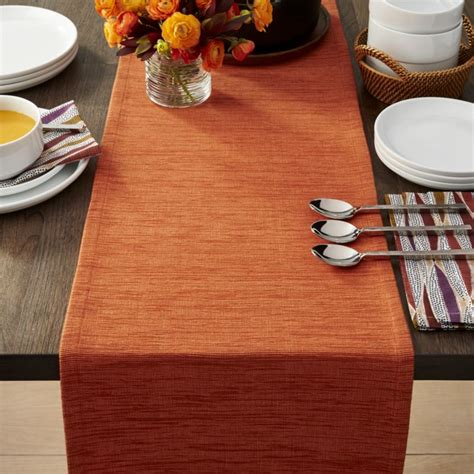 grasscloth 90 quot orange table runner crate and barrel