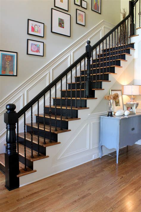 black staircase black banisters interior design ideas bright bold and