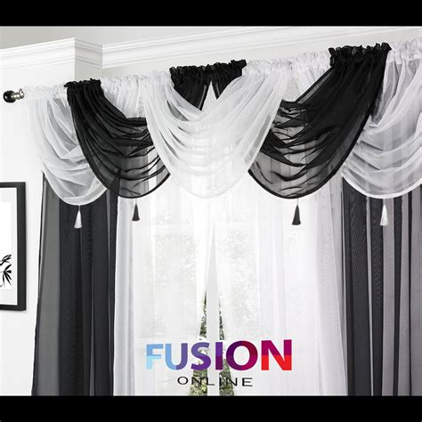 diy swag curtains net curtain swag swags tassle voile decorative drapes