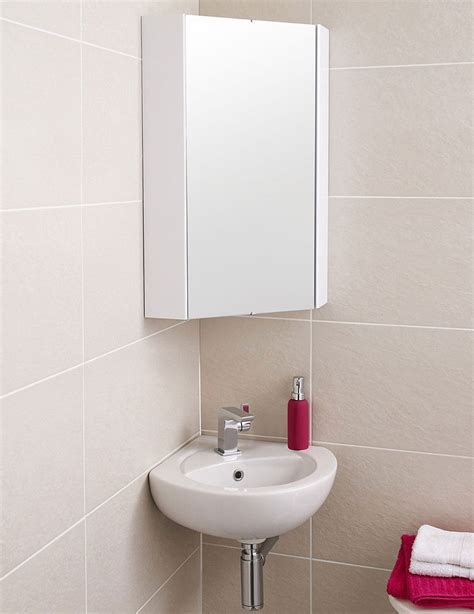 Premier Mayford High Gloss White 459mm Corner Mirror Cabinet