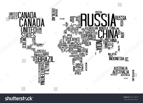svg world map with country names world map countries name text typography stock vector