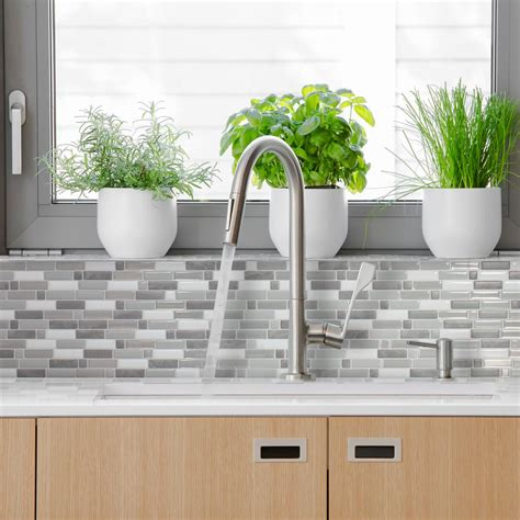 smart tiles kitchen backsplash smart tiles crescendo agati 9 73 in w x 9 36 in h gray peel and stick decorative mosaic wall