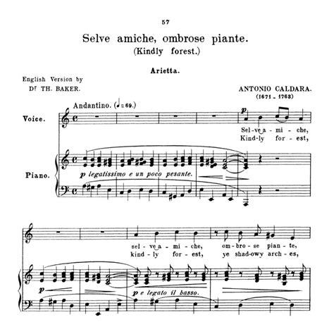 Selve Selve Amiche Medium Voice In A Minor For Soprano High