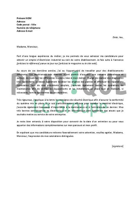 lettre de motivation pour un emploi d 233 lectricien