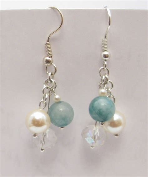 Handmade Earings - ivory pearls green jade gemstone and quartz