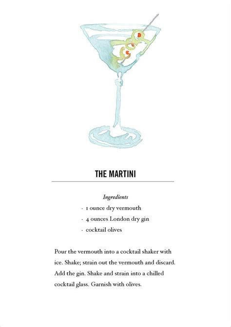 printable martini recipes martini or yes gibson cocktail recipe card postcard