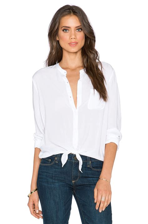 White Tie Front Blouse by White Blouse With Tie In Front Black Dressy Blouses
