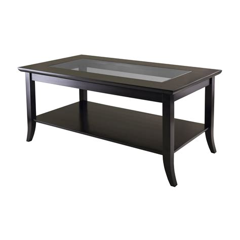 Wood Coffee Table With Shelf by Winsome Wood 92437 Genoa Rectangular Glass Top Coffee