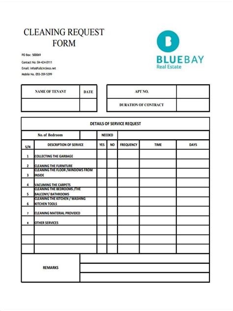 cleaning service forms templates 7 cleaning service form sles free sle exle