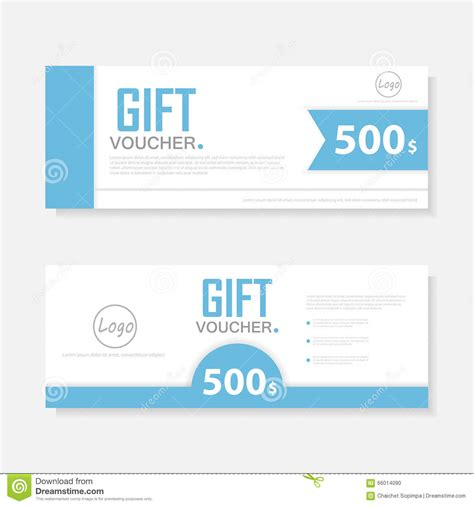 blue gift voucher template with colorful pattern cute gift