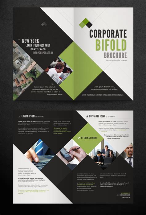 free bi fold templates for brochures corporate bi fold brochure template printriver 169