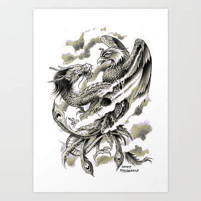tattoo phoenix vs dragon dragon phoenix tattoo art print art print by cathy