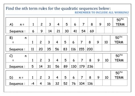 pattern sequences worksheet ks3 quadratic sequences worksheet by sbinning teaching