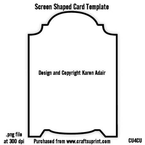 shaped card templates screen shaped card template cup378574 168 craftsuprint