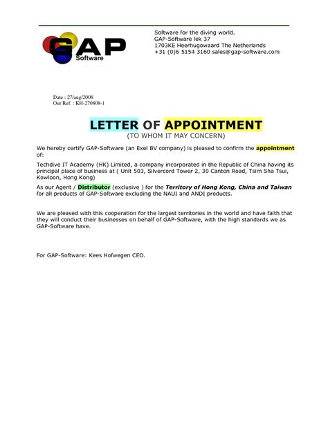 employee appointment letter sle india distributor appointment letter template 28 images
