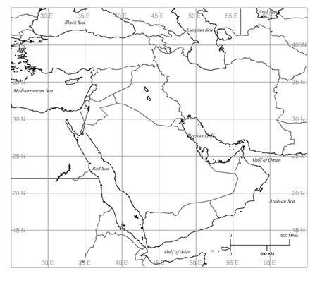middle east map blank printable middle east blank map