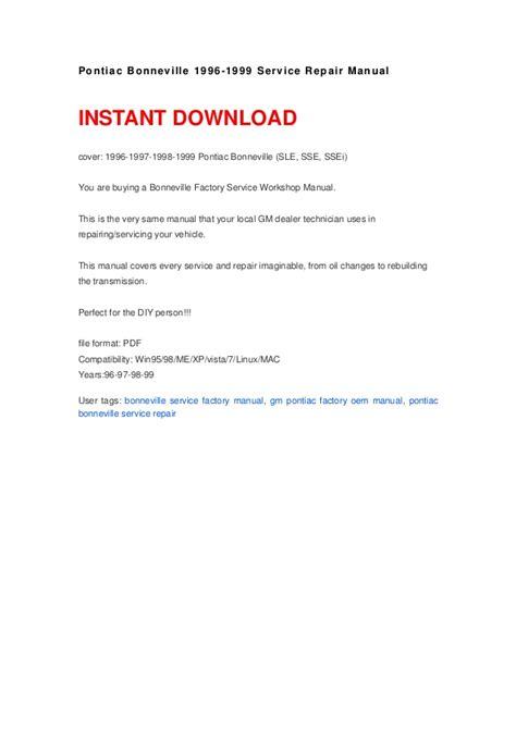 how to download repair manuals 1965 pontiac bonneville regenerative braking pontiac bonneville 1996 1999 manual