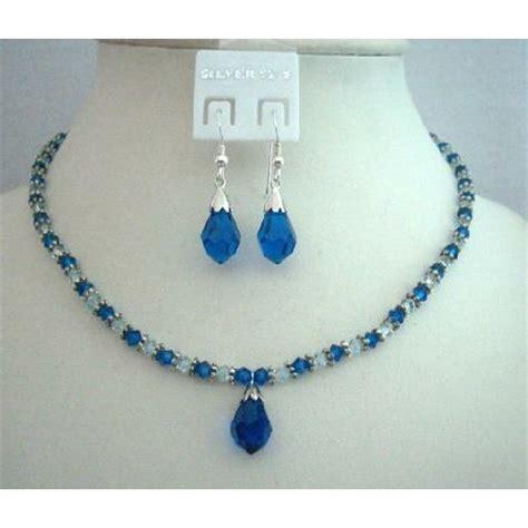 Handcrafted Swarovski Jewelry - custom jewelry swarovski blue crystals necklace set