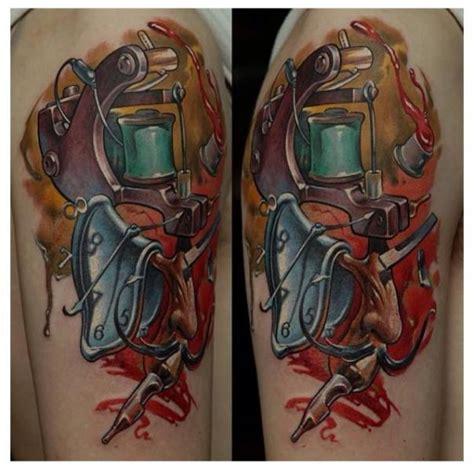 machine arm tattoo arm clock machine by zoi
