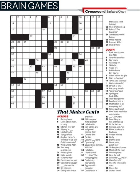 highly recommended film crossword march 2014 crossword that makes cents everything zoomer