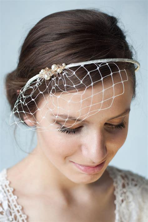 Bridal Hairstyles With Headband And Veil   a bridal ivory birdcage veil headband 50 81 is simple