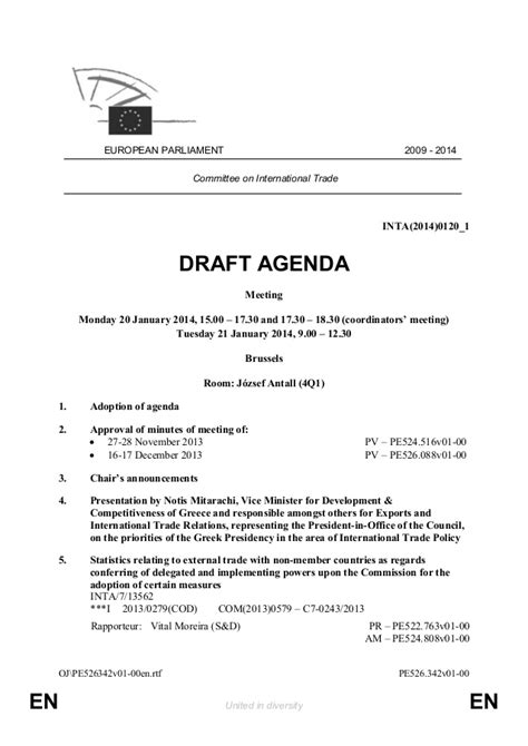 agenda draft template draft agenda for the next inta meeting 20 21 january 2014