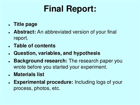 science fair project report sle format of a science project research paper pdfeports867