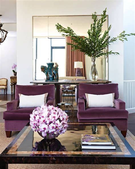 plum velvet chairs contemporary living room