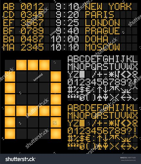 typography terminal digital terminal table led font vector stock vector