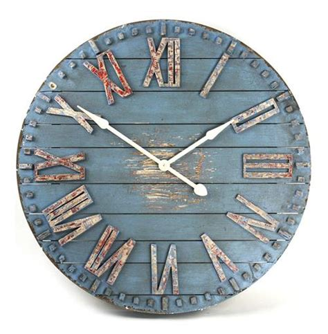 rustic cottage blue painted wood metal wall clock