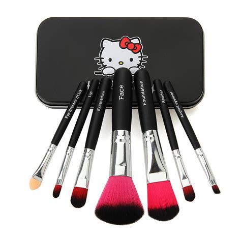 Hello Mini Makeup Brush Set Bk1001 2016 newest makeup brushes hello 7pcs mini brush black kit sets for eyeshadow blush