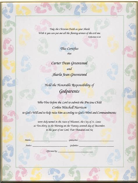 baby christening certificate template christening certificates for godparents certificates