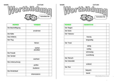 Präfix Suffix Arbeitsblatt
