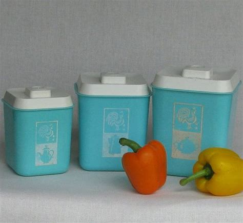 vintage turquoise metal kitchen canister set with by whitepicket vintage kitchen decor canister set light turquoise