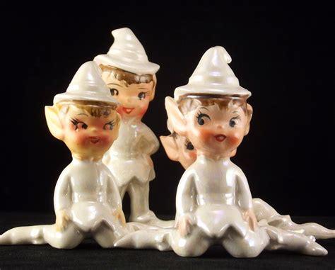Bedak Pixy Ultimate White Porcelain Vintage Original Artmark Set Of 4 White Ceramic Pixie